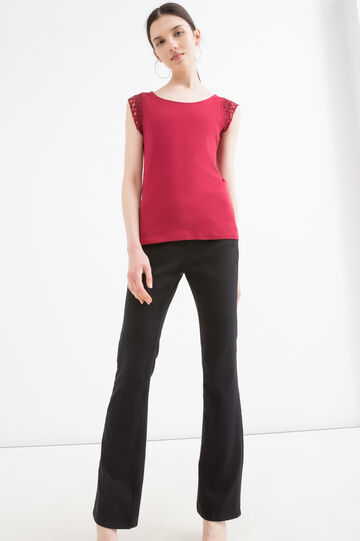 100% cotton T-shirt with cap sleeves, Dark Red, hi-res