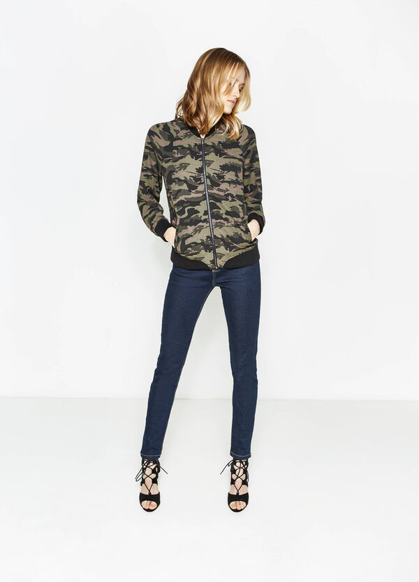 Stretch sweatshirt with all-over print | OVS