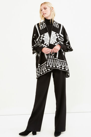 Ethnic pattern knit cloak, Black, hi-res