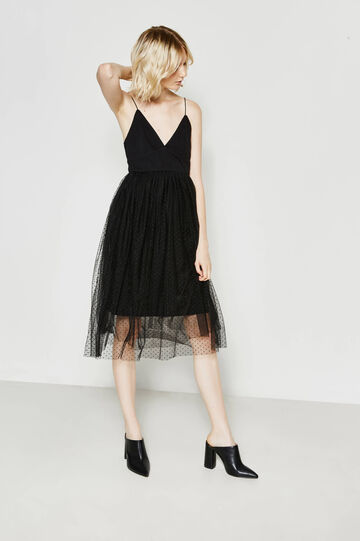 Cotton dress with speckled tulle