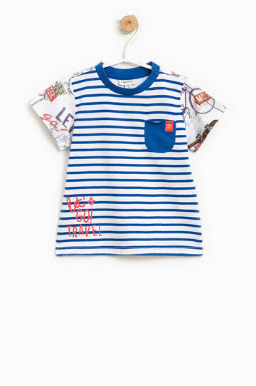 Striped T-shirt with patterned sleeves, White/Blue, hi-res