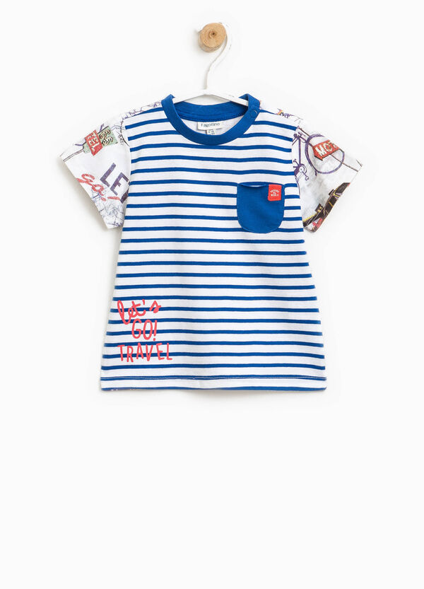 T-shirt a righe con maniche fantasia | OVS