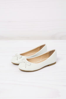 Leather look ballerina flats, White, hi-res