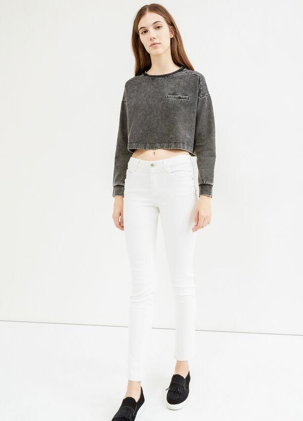 Crop sweatshirt with fading   OVS