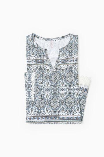 Camicia da notte stampata cotone, Bianco panna, hi-res