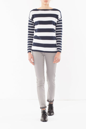 Striped jumper, White/Blue, hi-res