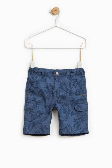 Patterned cargo Bermuda shorts, Navy Blue, hi-res
