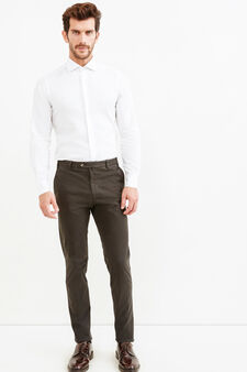 Stretch cotton Rumford trousers with crease, Brown, hi-res