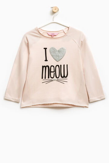 100% cotton sweatshirt with glitter print, Pink, hi-res