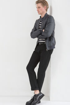 Leather look jacket with high collar, Grey, hi-res