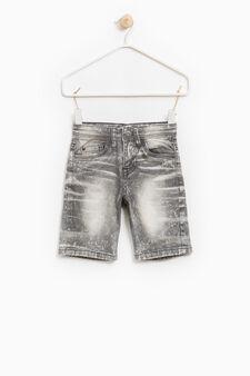 Misdyed-effect stretch denim Bermuda shorts, Grey, hi-res
