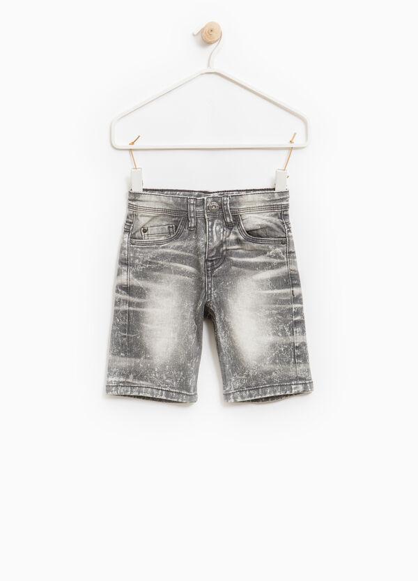 Misdyed-effect stretch denim Bermuda shorts | OVS
