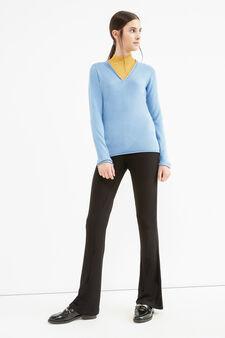 Solid colour V-neck pullover., Sky Blue, hi-res