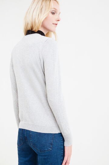 Solid colour cotton blend cardigan, Grey, hi-res