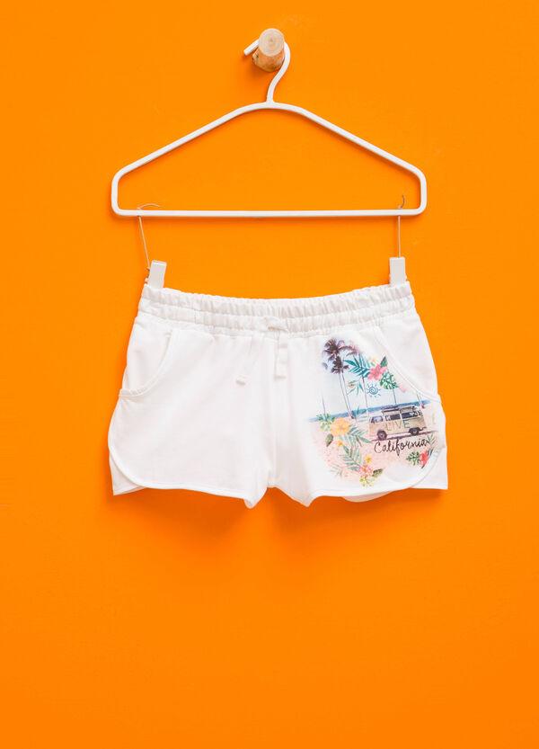 Stretch cotton printed shorts   OVS
