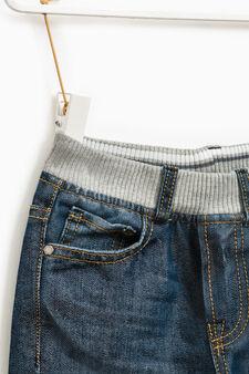Worn-effect jeans with elasticated waist, Medium Wash, hi-res