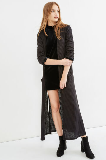Long viscose cardigan with slits, Black, hi-res