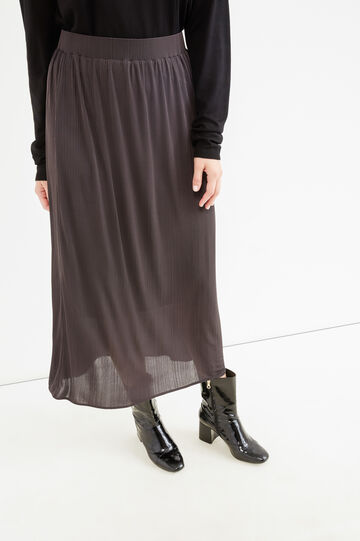 Long curvy viscose skirt, Grey, hi-res
