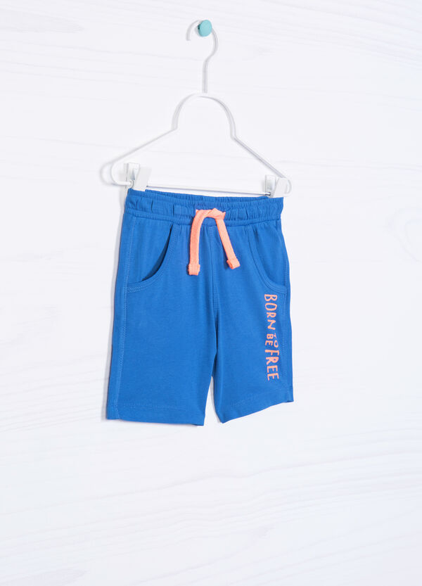 100% cotton Bermuda shorts with lettering print | OVS
