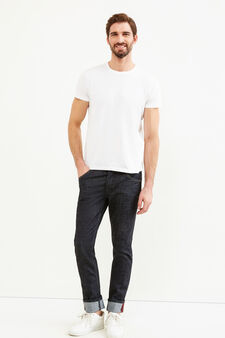 Slim-fit stretch jeans with turned-up hems, Denim, hi-res