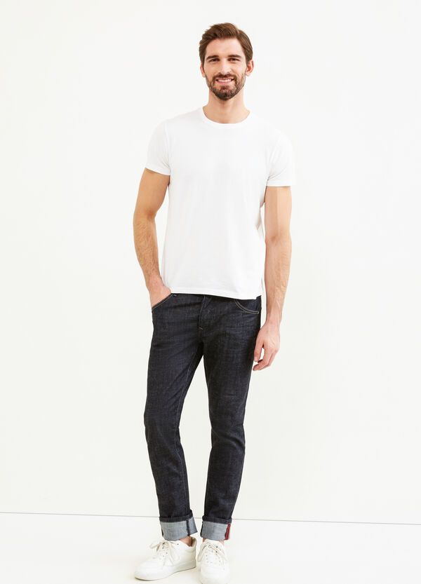 Slim-fit stretch jeans with turned-up hems | OVS