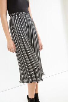 Pantaloni crop vita alta a righe, Bianco/Nero, hi-res