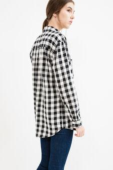 Camicia puro cotone fantasia quadri, Bianco/Nero, hi-res
