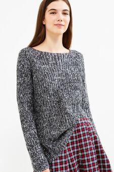 Pullover mélange lavorato tricot, Nero/Bianco, hi-res