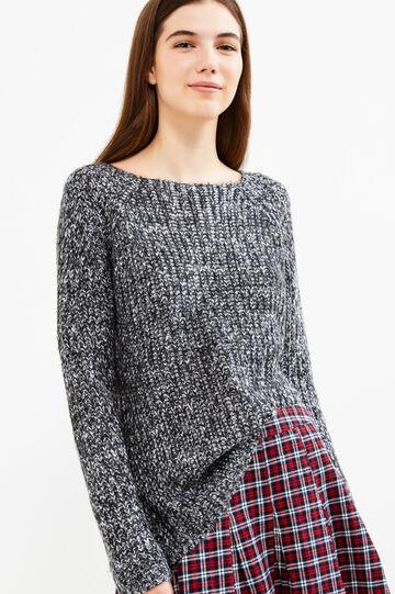 Knitted mélange pullover, Black/White, hi-res