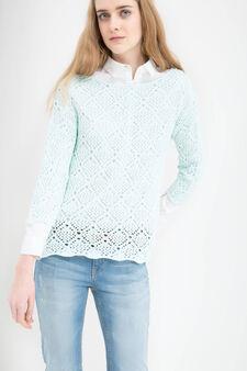Solid colour 100% cotton pullover, Aqua Blue, hi-res