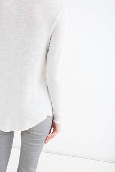 Cardigan viscosa stretch e lurex, Bianco, hi-res