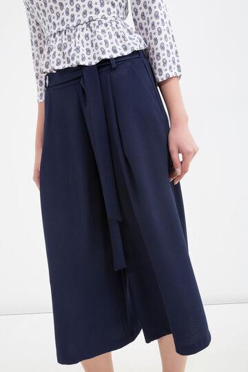 Solid colour stretch culottes, Navy Blue, hi-res