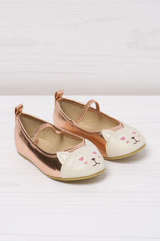 Ballerina flats with cat patch toe, Pink, hi-res