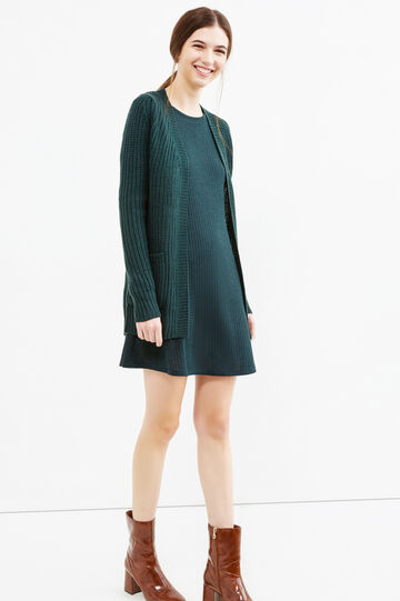 Cardigan lungo maglia larga, Verde, hi-res