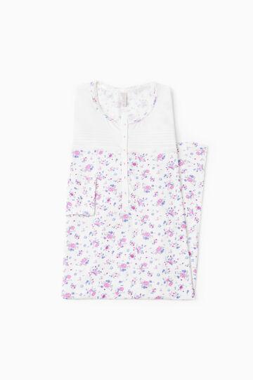 Camicia da notte puro cotone floreale, Bianco panna, hi-res