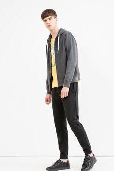 Cotton blend hoodie., Dark Grey Marl, hi-res