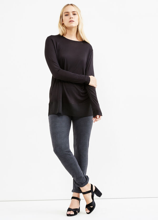 Curvy stretch trousers with side zip | OVS