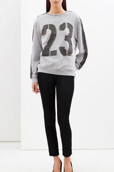 Sweatshirt with applied patches, Grey Marl, hi-res