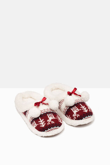 Knitted slippers with pompoms, White/Red, hi-res