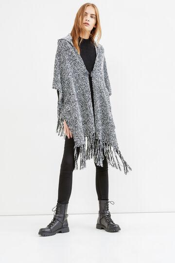 Mantella tricot con alamaro e frange, Nero/Bianco, hi-res
