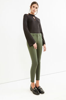 Solid colour stretch viscose jeggings, Forest Green, hi-res