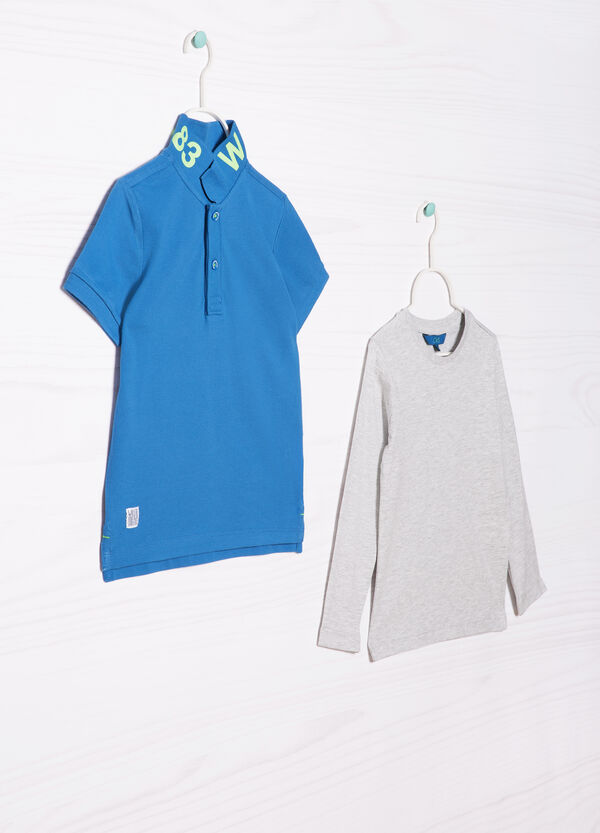 Cotton polo shirt and T-shirt outfit | OVS