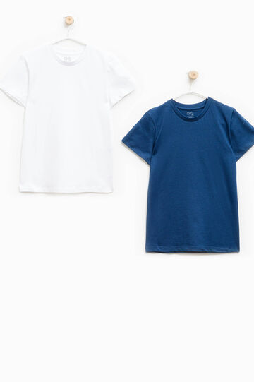 Two-pack solid colour cotton undershirts, White/Blue, hi-res