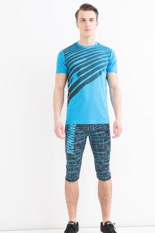T-shirt sportiva stampa a contrasto, Blu, hi-res