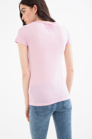Solid colour T-shirt in 100% cotton, Pink, hi-res