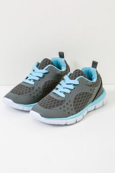 Sneakers with laces, Light blue/Grey, hi-res