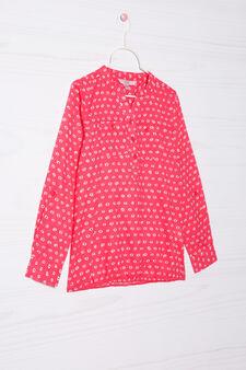 Printed shirt in 100% cotton, Orange, hi-res