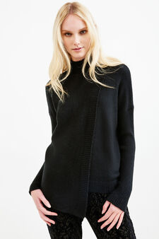 Stretch knit turtleneck with ribbing, Black, hi-res