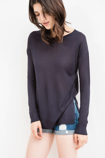 Viscose blend pullover with splits, Blue, hi-res