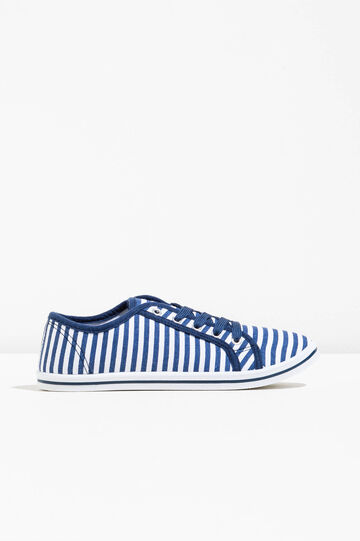 Striped pattern fabric sneakers